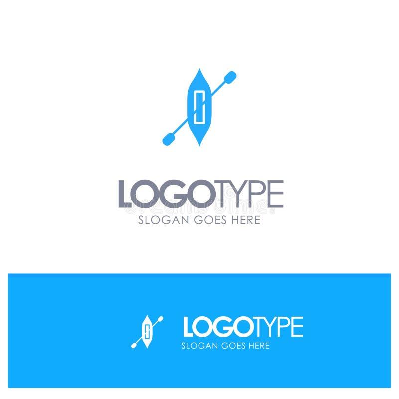 Łódź, czółno, kajak, Wysyła Błękitnego logo wektor ilustracja wektor