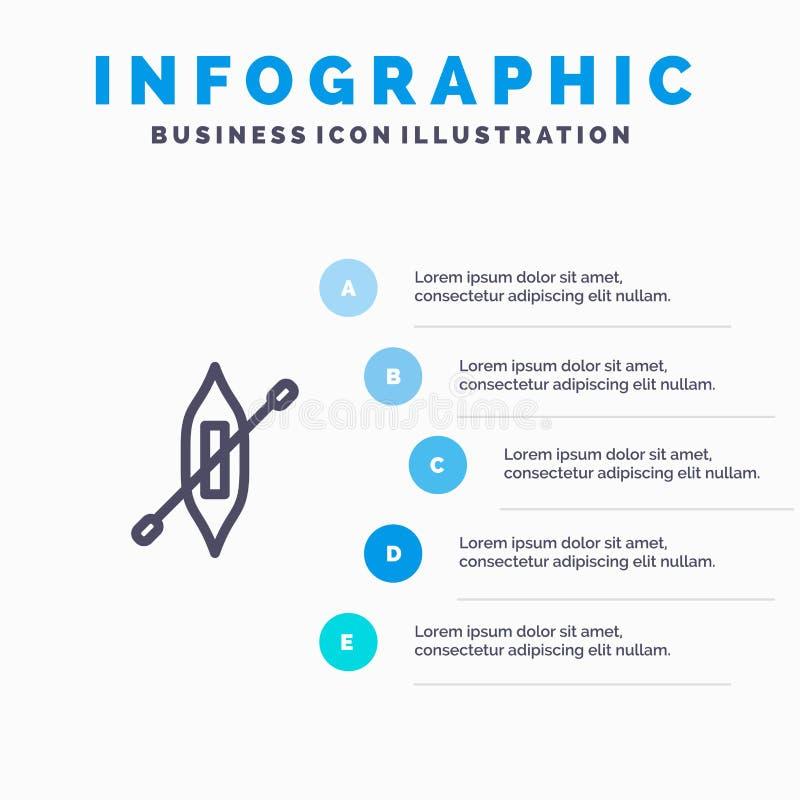 Łódź, czółno, kajak, Wysyła Błękitnych Infographics szablonu 5 kroki Wektor ikony kreskowy szablon ilustracji