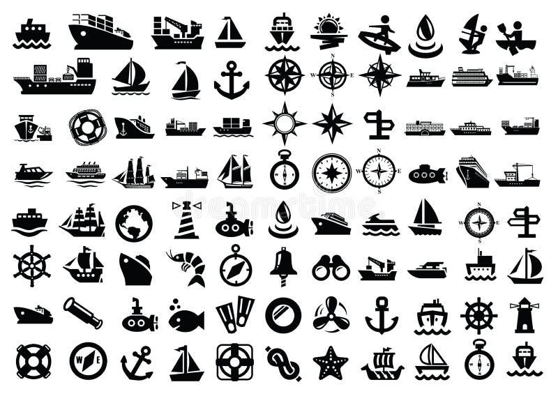 Łódź i statek ilustracji