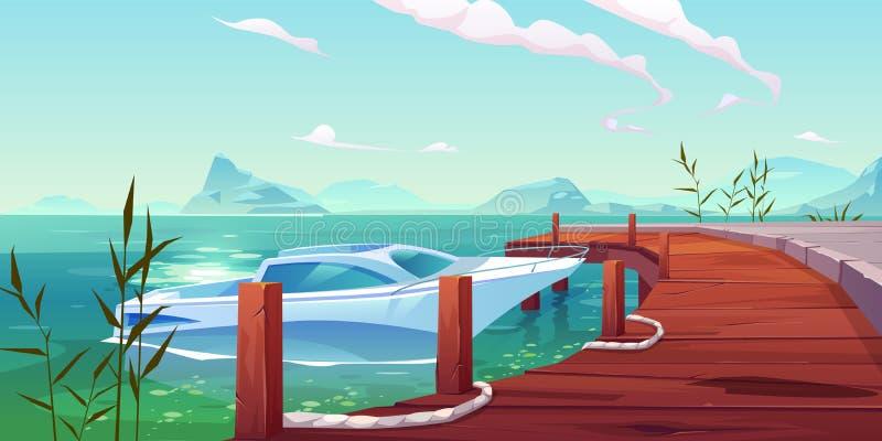 Łódź, jacht cumował drewniany molo na rzece lub jeziorze ilustracji