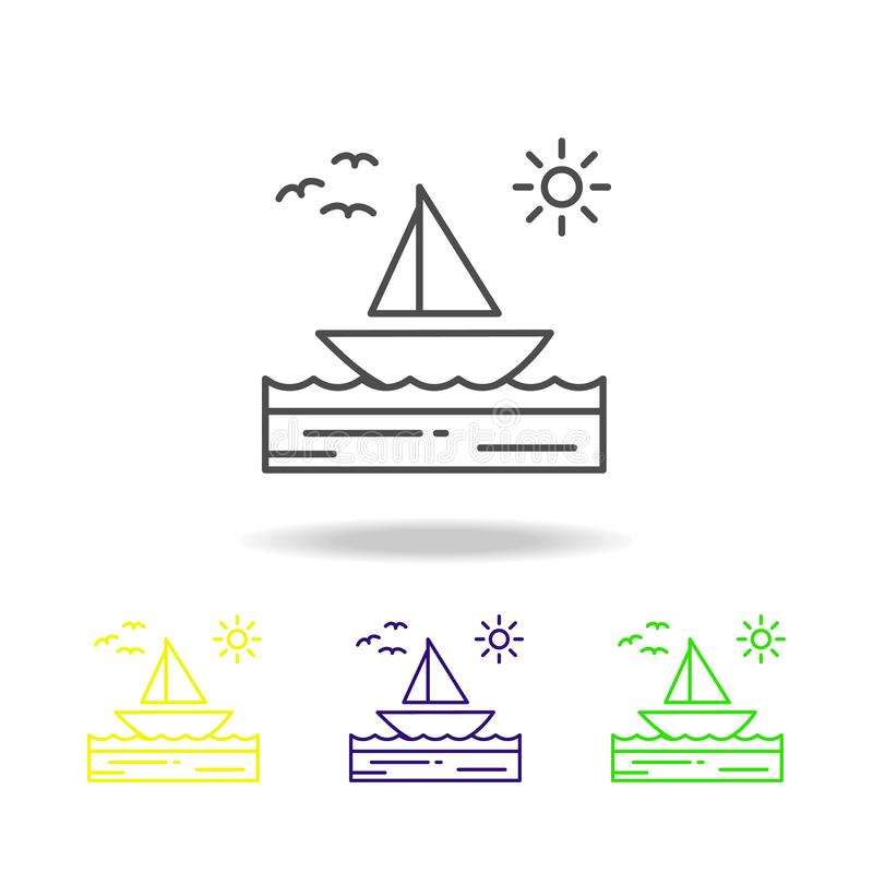 Łódź, morze, pogodny, żaglówka, ptaki barwił ikonę Może używać dla sieci, logo, mobilny app, UI, UX royalty ilustracja
