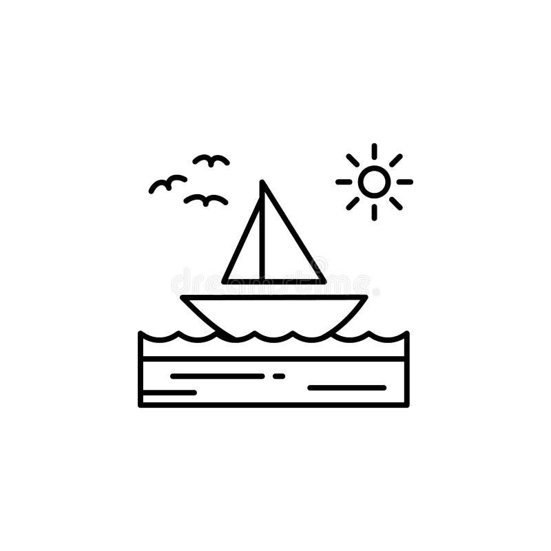 Łódź, morze, pogodny, żaglówka, ptaki zarysowywa ikonę Element krajobrazy ilustracyjni Znaki i symbolu konturu ikona mogą używać  ilustracja wektor