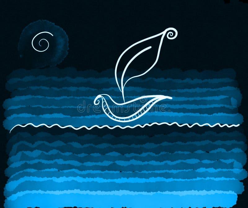 Łódź na jeziorze przy nocą ilustracji