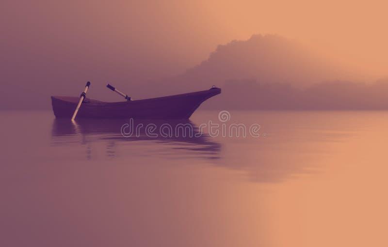 Łódź na jeziorze przy zmierzchem royalty ilustracja