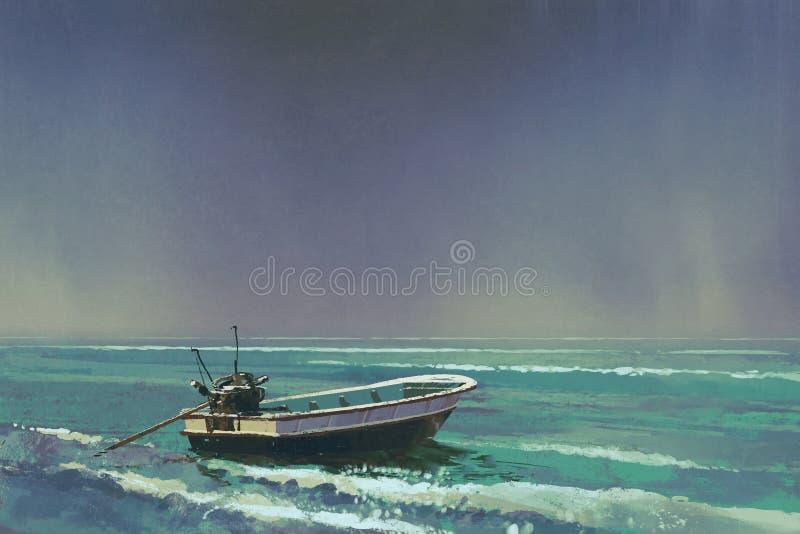 Łódź na morzu z popielatym niebem na tle royalty ilustracja