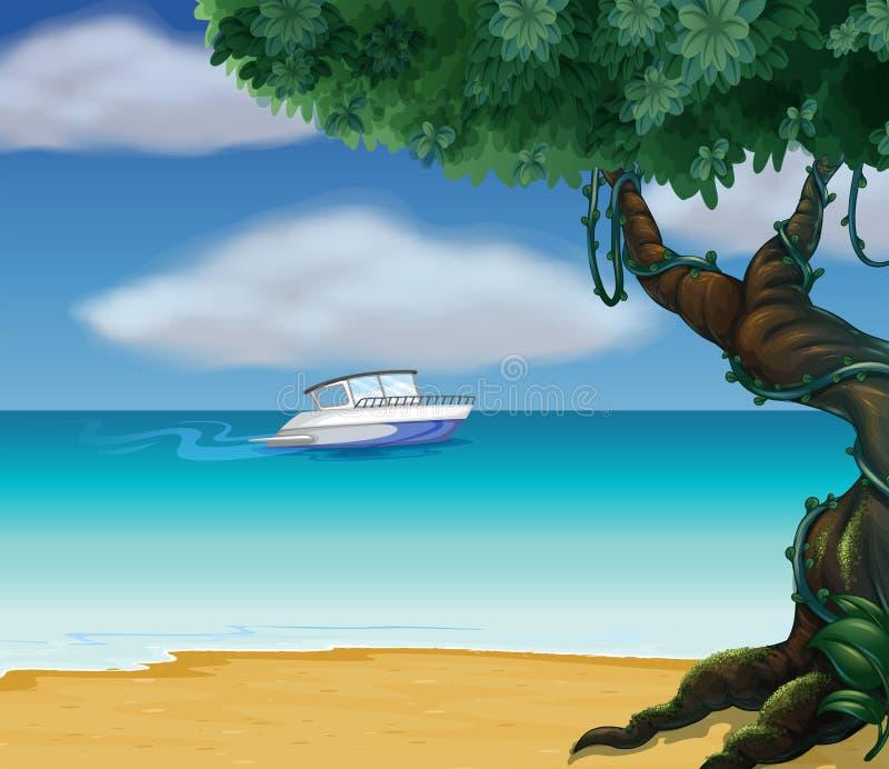 Łódź po środku morza ilustracja wektor