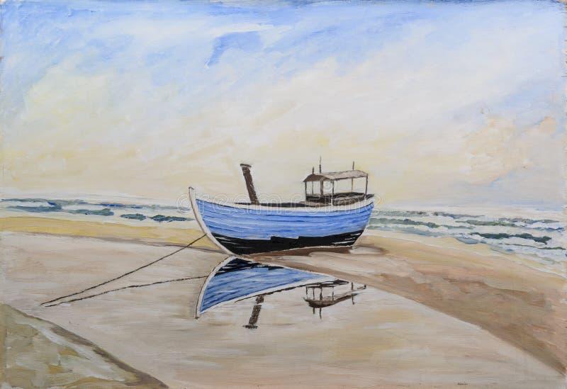 Łódź rybacka na plaży ilustracja wektor