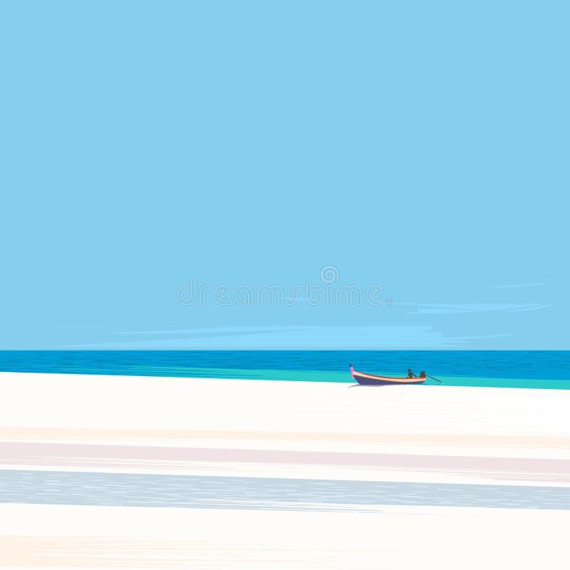 Łódź rybacka na plaży z białym piaskiem royalty ilustracja