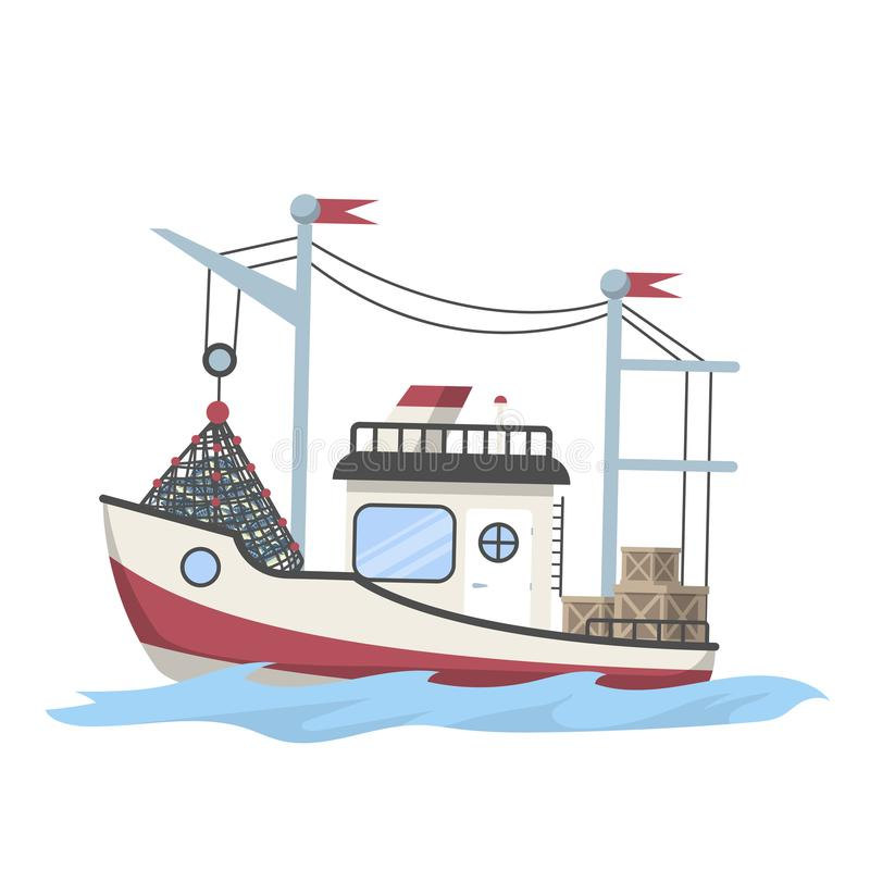 Łódź rybacka pełno lub statek ryba royalty ilustracja