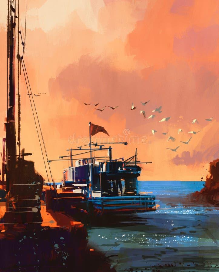 Łódź rybacka w porcie przy zmierzchem ilustracji