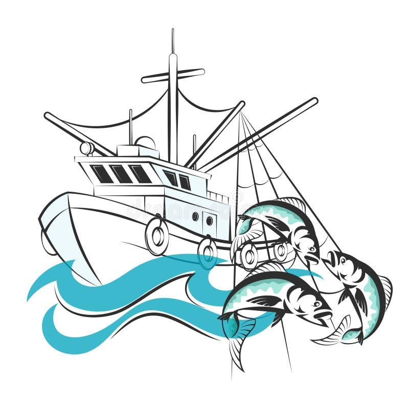 Łódź rybacka z chwytem royalty ilustracja