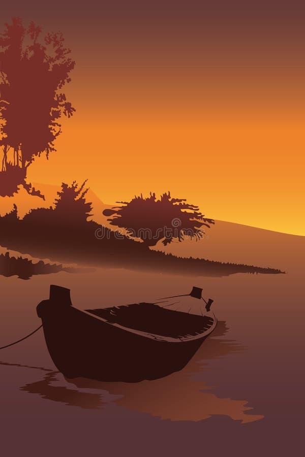 Łódź stojak przy rzecznym brzeg wektorem Portreta widoku tło z zmierzchem przy seashore, natury tapeta royalty ilustracja
