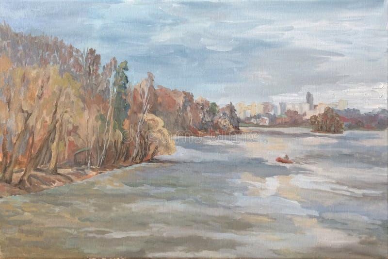 Łódź unosi się na rzece miasto na horyzoncie royalty ilustracja