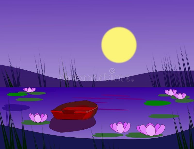 Łódź w blasku księżyca ilustracja wektor