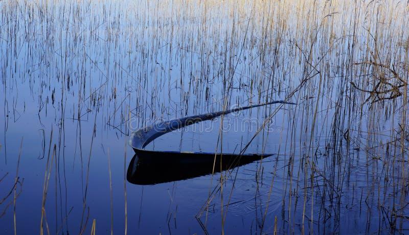 Łódź w jeziorze zdjęcie royalty free
