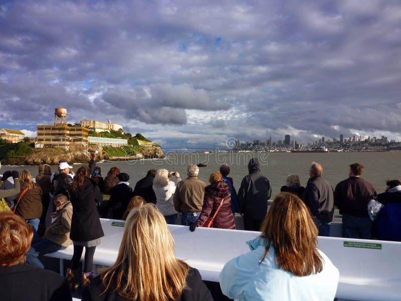 Łódź w kierunku Alcatraz fotografia royalty free