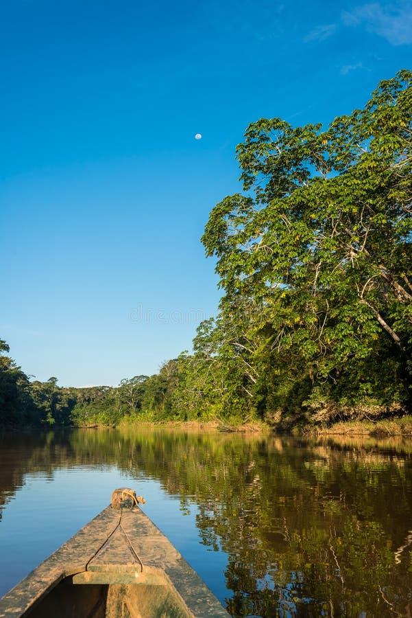Łódź w rzece w peruvian amazonki dżungli przy Madre De Dios zdjęcie royalty free
