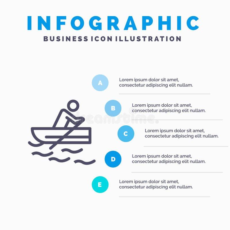 Łódź, wioślarstwo, szkolenie, Wodnej linii ikona z 5 kroków prezentacji infographics tłem ilustracja wektor