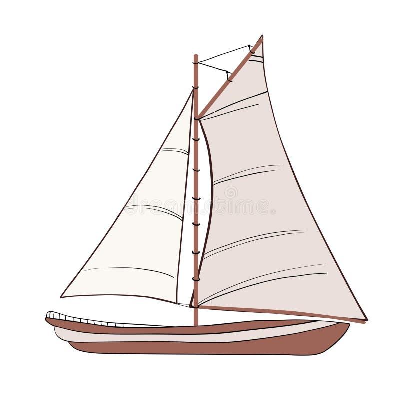 Łódź z żaglami ilustracji