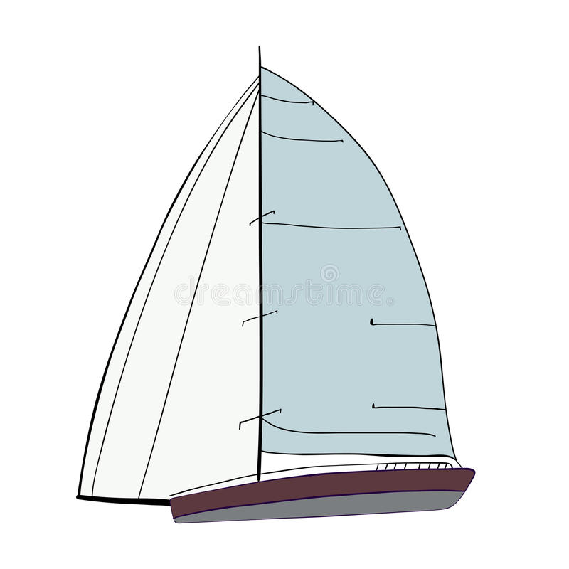 Łódź z żaglami ilustracja wektor