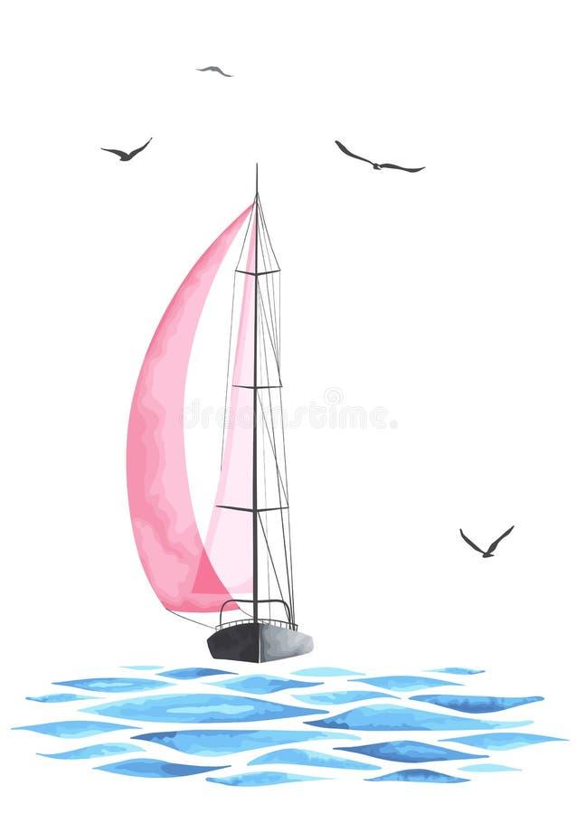 Łódź z żaglami i seagulls robić w wektorze ilustracja wektor