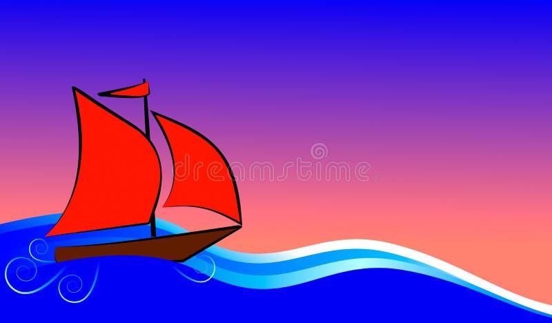 Łódź z czerwień żagli pławikami royalty ilustracja