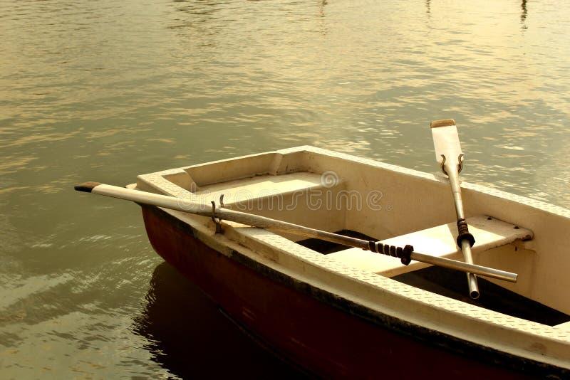 Łódź z paddles w jeziorze przy sittanavasal jamy świątyni kompleksem fotografia stock