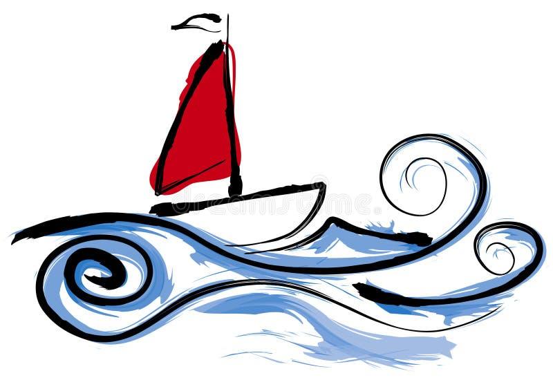 łódka żeglując ilustracji