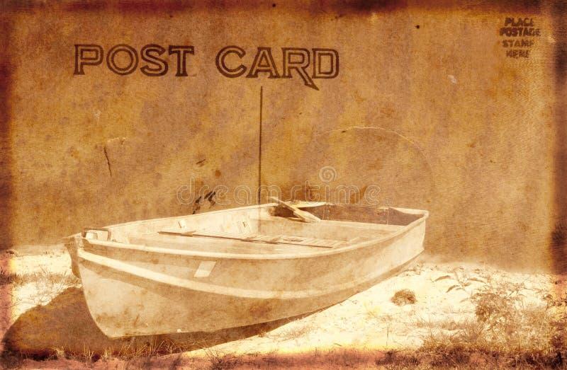łódka rocznik pocztówkowy ilustracji