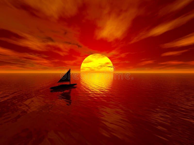 łódka słońca ilustracji