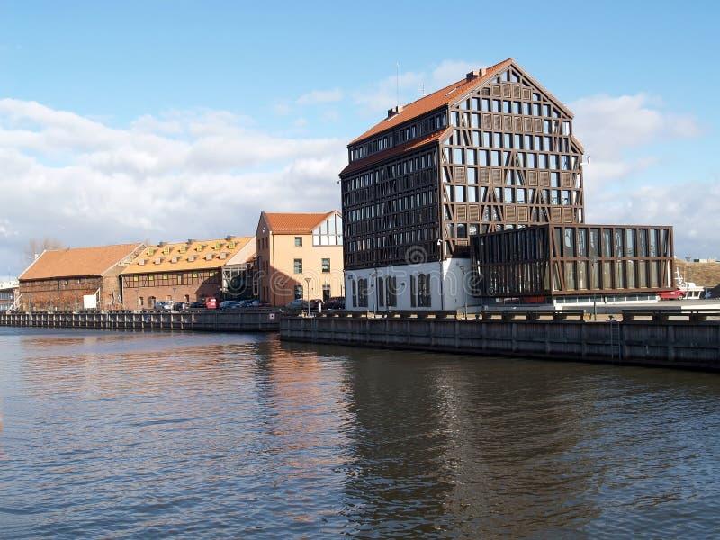 łódkowaci klaipeda Lithuania meridianas symbole jeden rozpoznawalni s żeglowania symbole Dana rzeki bulwar obraz stock