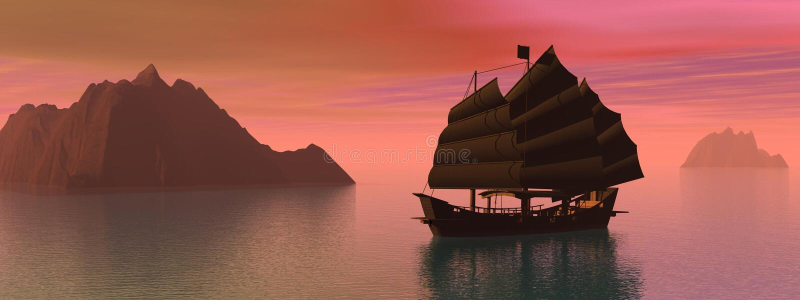 łódkowata dżonka Oriental ilustracji