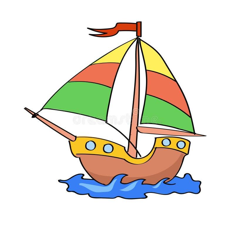 Łódkowata kreskówka kolorowa na białym tle ilustracji