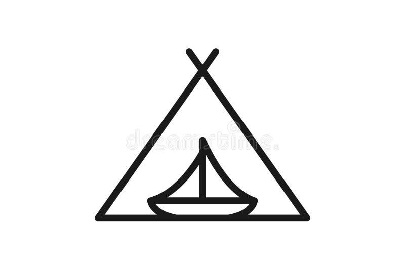 Łódkowata mono linia dla przygoda loga projekta inspiraci royalty ilustracja