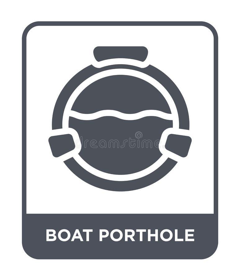 łódkowata porthole ikona w modnym projekta stylu łódkowata porthole ikona odizolowywająca na białym tle łódkowatego porthole wekt ilustracji