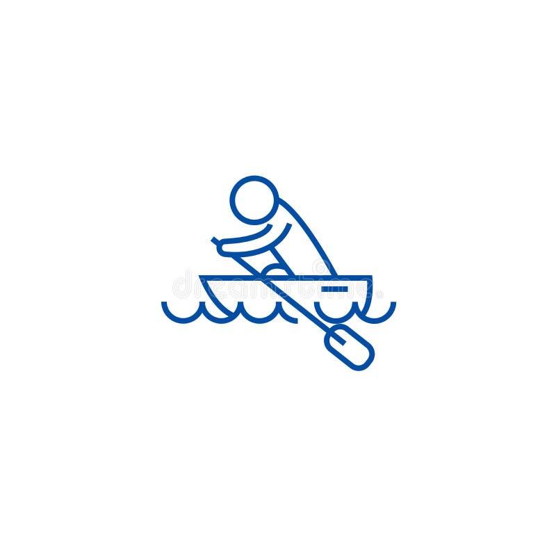 Łódkowata rasa, kajaki, wiosłuje rasy ikony kreskowego pojęcie Łódkowata rasa, kajaki, wiosłuje biegowego płaskiego wektorowego s ilustracja wektor