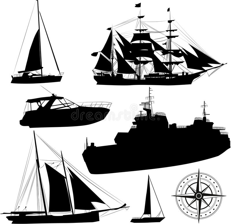Łódkowate sylwetki ilustracja wektor