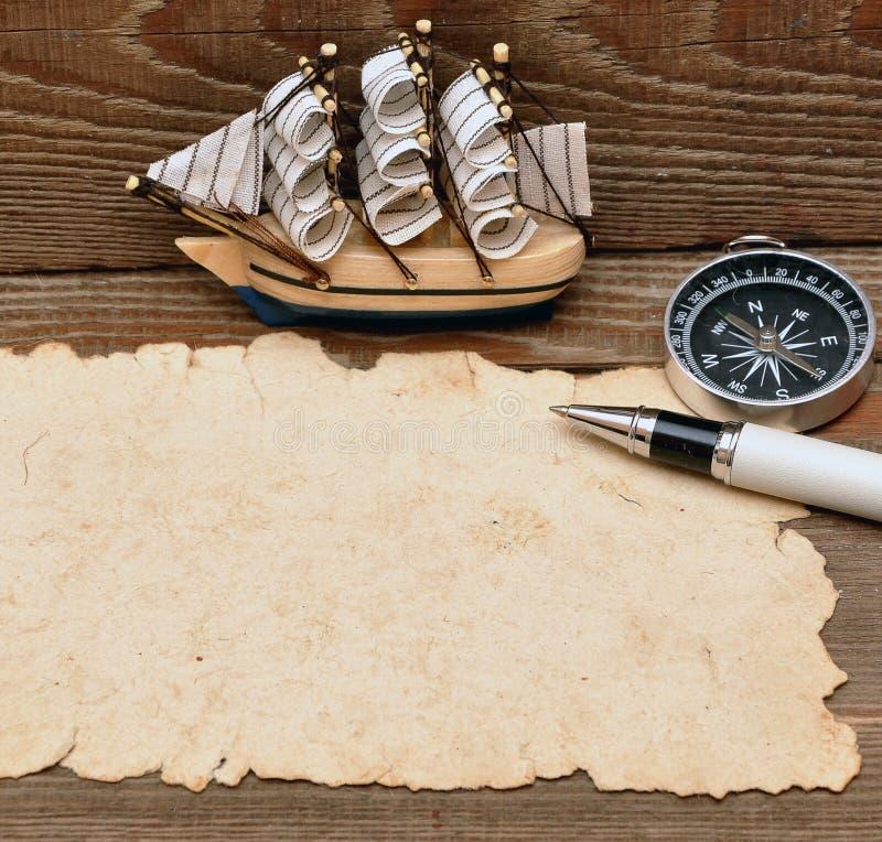 łódkowatego klasyka kompasu modela stara papieru arkana fotografia stock