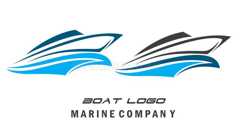 Łódkowatego logo Nautyczny żeglowanie z falą zdjęcia stock