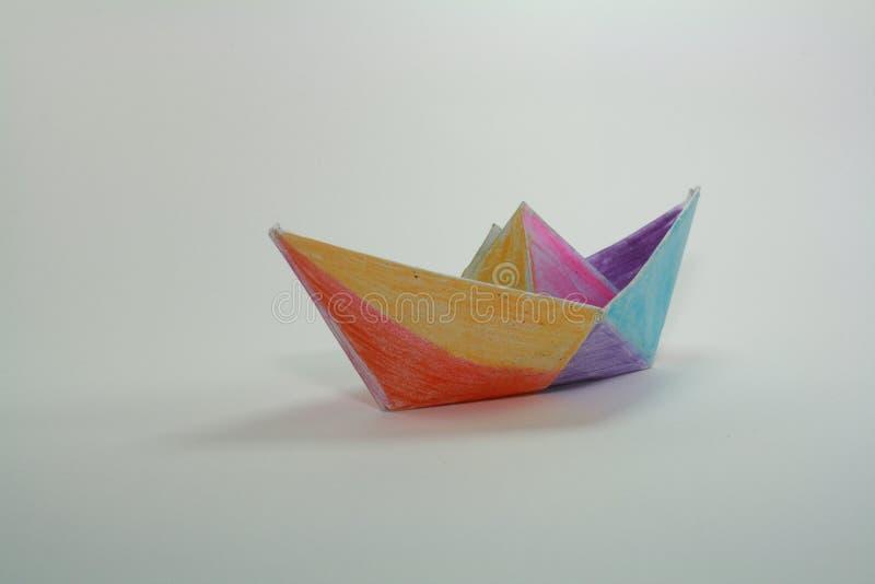 łódkowatego układu rękodzielniczy origami papieru planu wektor fotografia stock