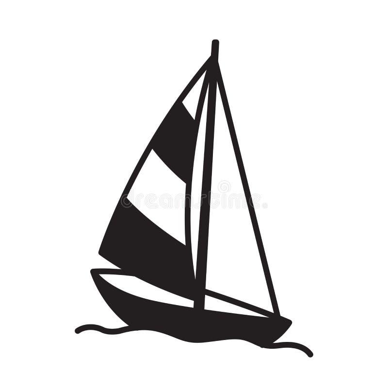 Łódkowatej wektorowej ikona loga żaglówki jachtu kotwicy steru latarni morskiej morska Nautyczna tropikalna ilustracja ilustracja wektor