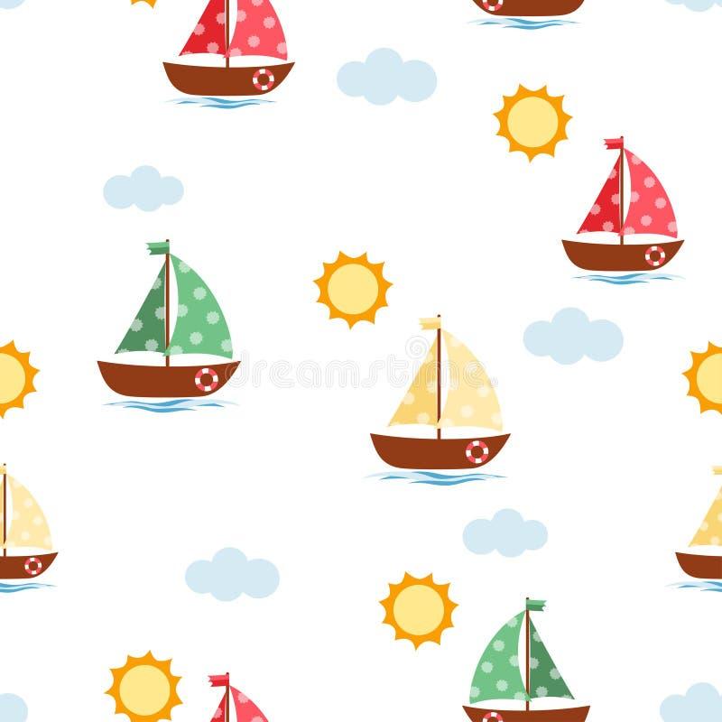 Łódkowaty śliczny bezszwowy wzór ilustracji