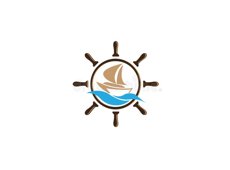Łódkowaty żeglowanie wśrodku statku koła morskiego symbolu dla logo projekta ilustracji na białym tle ilustracja wektor