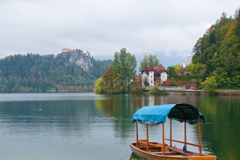 Łódkowaty czekanie dla pasażerów na Krwawić jeziorze w Slovenia fotografia royalty free