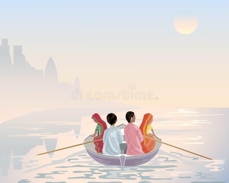 łódkowaty Ganges ilustracja wektor