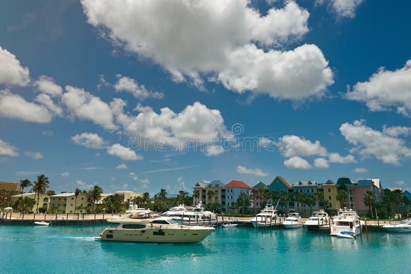 Łódkowaty molo w Bahamas wyspie fotografia royalty free