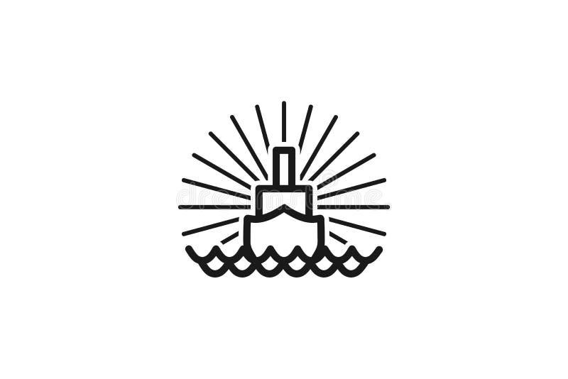 Łódkowaty Mono Kreskowy logo Projektuje inspirację Odizolowywającą na Białym tle ilustracja wektor