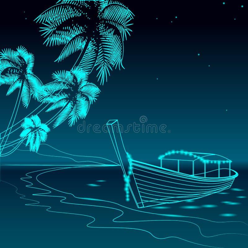 Łódkowaty noc deptaka morza wakacje Romantycznego daktylowego ślub podróży czasu wolnego piaskowaty brzegowy gwiaździsty niebo Pa ilustracja wektor