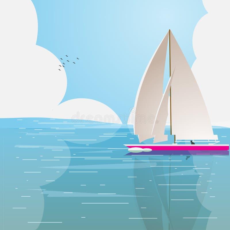 łódkowaty osamotniony ocean ilustracji