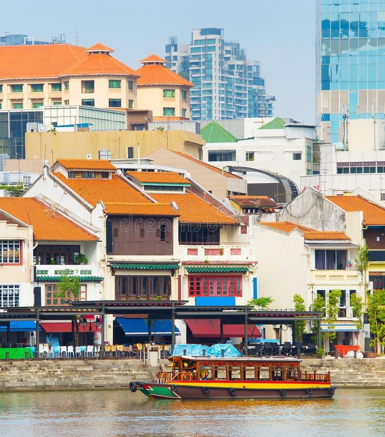 Łódkowaty Quay okręg, Singapur zdjęcie stock